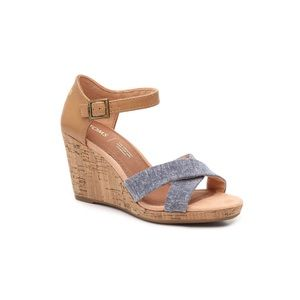 Toms Sienna Chambray Wedge Sandal